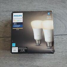 Philips Hue 2-Pack A19 WHITE LED Smart Bulb, Bluetooth & Zigbee Compatible Alexa