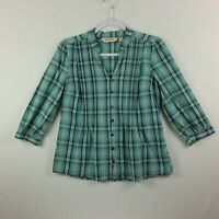 St Johns Bay Womens Button Front Top PM Green Plaid 3/4 Cuff Sleeve Pleats