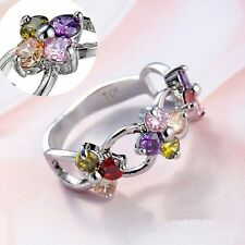 Topaz Jewelry Colorful Rhinestone Flower Rings Natural Tanzanite Silver Plated