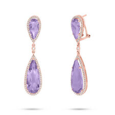 14K Rose Gold Pear Cut Purple Amethyst And Diamond Tear Drop Dangle Earrings