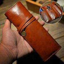 Vintage Style PU Leather Rollup Pencil Case Makeup Bag Pen Holder Pouch Pocket #