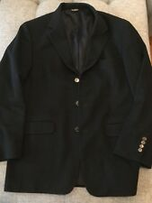 BILL BLASS Black Label Solid BLACK 100% CASHMERE Unvented SPORT COAT sz 42R