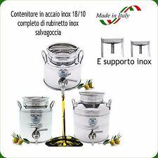 CONTENITORE INOX 18/10 LT.3 PER OLIO COMPLETO DI RUBINETTO NOX + SUPPORTO INOX