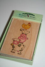 Image Tree Rubber Stamp Barnyard Buddies Stacked Animals NIP NEW with box wear