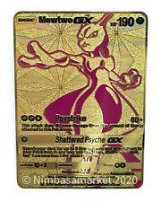 Pokemon TCG Mewtwo Full Art GX Metal Proxy Display Card