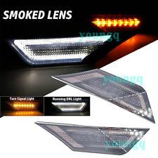 Smoked Lens LED Side Marker Light for 2016-up Honda Civic Turn Signal White DRL
