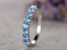 1.2Ct Round Cut Aquamarine Half Eternity Engagement Ring In 14K White Gold Finsh