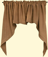 New Primitive French Country Shabby Jute BURLAP CAFE SWAGS Window Curtains