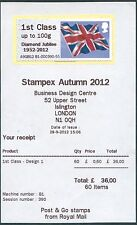 Stampex 2012 BANDIERA Giubileo di diamante ovpt INSET data errore 1st Class Post & Go