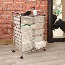 Wido Clear 15 Drawer Salon Storage Trolley Home Office Organiser Hairdresser