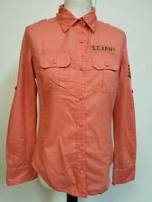 WOMENS SUPERDRY REGIMENT PINK STRIPED S.D.ARMY ROLL SLEEVE SLIM FIT SHIRT UK M