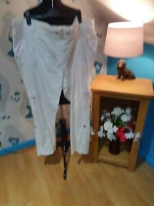 White Cotton Trousers Cargo elasticated waist by George, Size 24