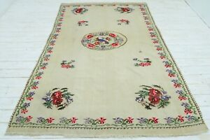 "Anatolian Kilim Rugs Beige Colored Vintage Floral Design Wool Rug Carpet 70""X99"""