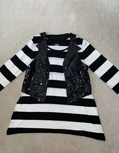 JUSTICE STRIPED LONG SLEEVE TOP W/ ATTCHED SEQUIN CARDIGAN SIZE 18