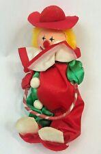 "Vintage Christmas Ornament Clown Satin Flocked 6"" Circus Decoration Russ"