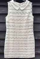 HOBBS NW3 Cream Cotton Broderie Anglaise Shift Dress, Taupe Underslip UK14 EU42