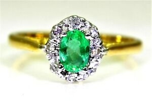 Vintage Natural Emerald & Diamond 18ct Yellow Gold Cluster ring O ~ 7 1/4