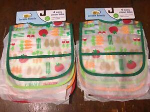 8 Luvable Friends Baby Boys Crumb Catcher Waterproof Easy Clean NWT Vegetables