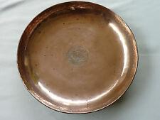 PLAT  ROND  ANCIEN ( légèrement creux )  EN  MÉTAL  CUIVRÉ