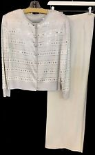 St John 2pc Evening Suit Silver Knit Sequins And Pyettes Pearl Buttons Size 12