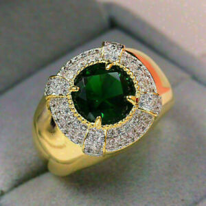 2.2 CT GREEN EMERALD ENGAGEMENT MEN'S THREE ROW HALO RING 14K YELLOW GOLD FILLED