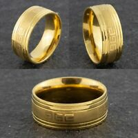 8mm Stainless Steel Gold Wedding Band - Mens & Womens Comfort Ring Sizes O to V