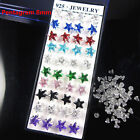 Wholesale Lot 40Pcs Mixed Color Crystal 925 Solid Silver Ear Stud Earrings
