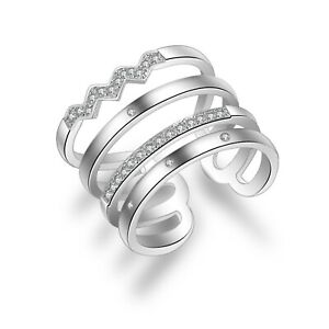 TinkerBoo™ Sterling 925 Silver and Cubic Zirconia Adjustable Multilayer Ring
