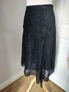 Hush Clarissa Devore Skirt Size 14 Black Asymmetric Hem Animal Inspired Midi