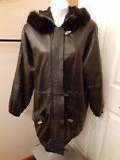JLC Black Leather Coat Fox Tail Fur Trimmed Hood Full Zip Women's/ Men's Medium