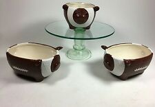 Football candy dish, dip dish, snack bowl. Lot of 3.