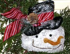 GLITTER Crinkled FROSTY SNOWMAN HEAD Ornament, Wreath, Garland decoration cl
