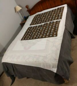 King bedskirt and 2 matching large long pillow shams Brown with blue circles