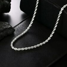 925 Italian Solid Sterling Silver 4mm Rope Chain 20 Inches 50cm High Shine