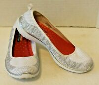 Sketchers Womens 9 Air Cooled Memory Foam Slip On Shoes White Silver Size 9