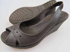 CROCS Croslite Brown Slingback Open Toe Wedge Sandals Shoes Women's 8
