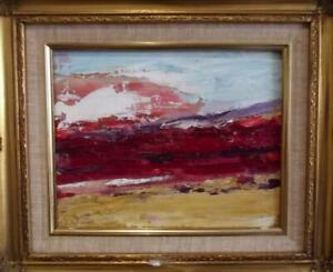 URSULA SPOTTISWOODE 1952-2015 British Modernist Oil Painting RED SKY DAWN