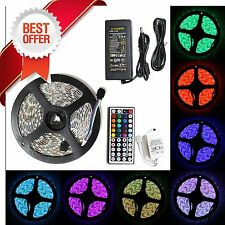 5M SMD RGB 5050 Waterproof 300 LED Strip Light 44 Key Remote 12V 5A Power Kit