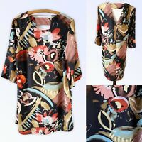 M&S Petite 12 Dress Tunic A-Line  Abstract Print Floral Navy Multi V Back Arty