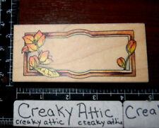 FLOWERS BUDS RECTANGLE PLATE TAG RUBBER STAMP VIP VISUAL IMAGE PRINTERY RETIRED