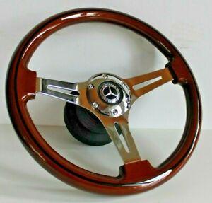 Steering Wheel Mercedes Benz Wood Chrome W124 W210 W220 W140 E500 S G CLK 93-01'