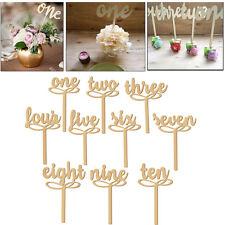 Shape Wooden Script Design Table Numbers Vintage Rustic Weddings Set 1-10 Decor