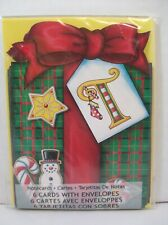 Pkg 6 Mary Engelbreit Christmas Notecards Letter T Gift Box Bow Snowman Star