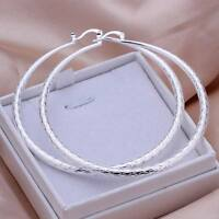 925 Fashion Silver Pretty women big circle wedding Earring Jewelry nice charms