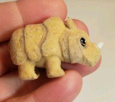 Baby rhinoceros Miniature Flocked Figurine Collectible Toy Fuzzy animal