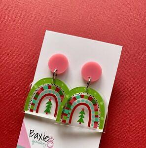 Christmas Rainbow Printed Clear Acrylic Dangle Earrings, Surgical Stud, Pink Top