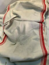 New listing Vintage Heavy Linen Toweling with Red Stripes on Sides 70 x 16 1/2