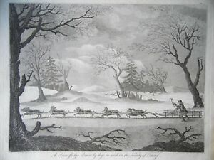 Siberia, A Snow Sledge, Drawn by Dogs, the Vicinity of Ochotzk. C19th Engraving