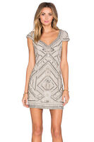 NWT Parker silver Silk Sequin Beaded Elijah Dress Cut Out Back Size S MSRP $429