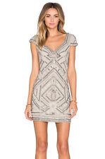 NWT Parker silver Silk Sequin Beaded Elijah Dress Cut Out Back Size S MSRP $429